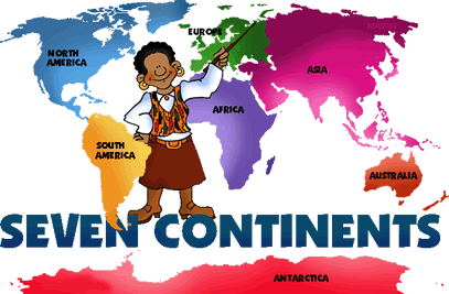 Seven continents of the world English lesson