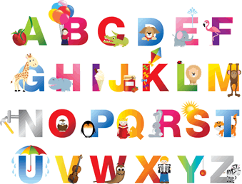 English Alphabet learning with pictures words a to z images