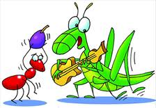 The ant and the grass hopper
