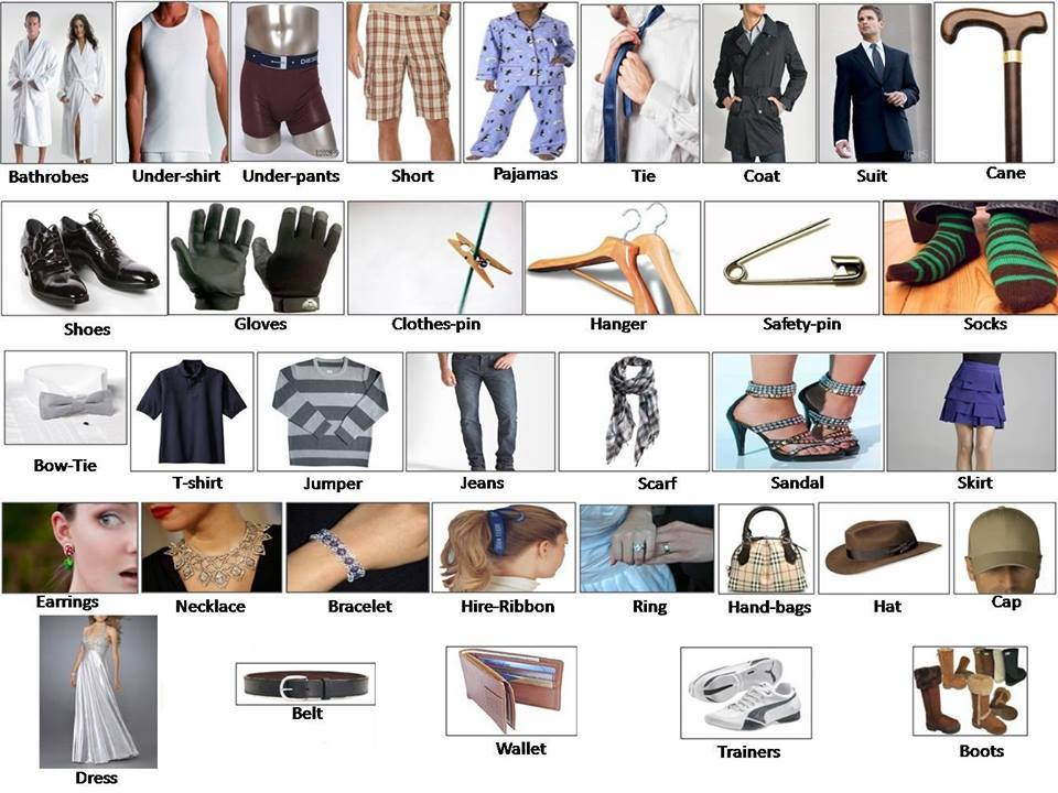 Clothes And Accessory Learning English Clothes For Men Women Babies