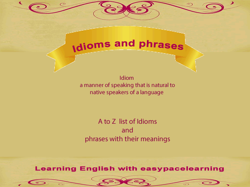 Idioms And Their Meanings Pdf