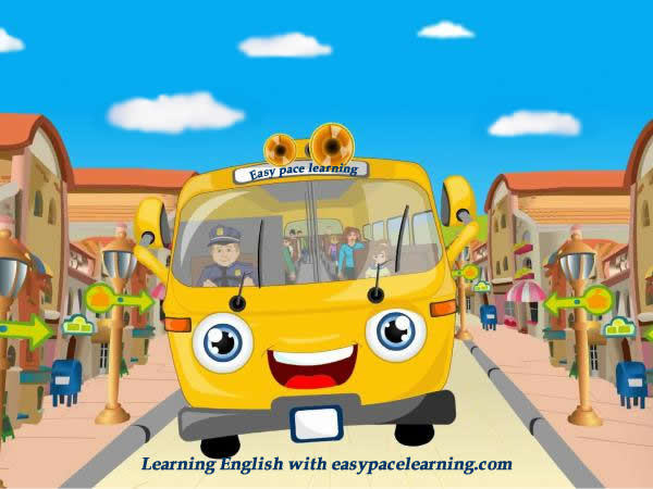 The wheels on the bus children's song with English words for helping with learning English