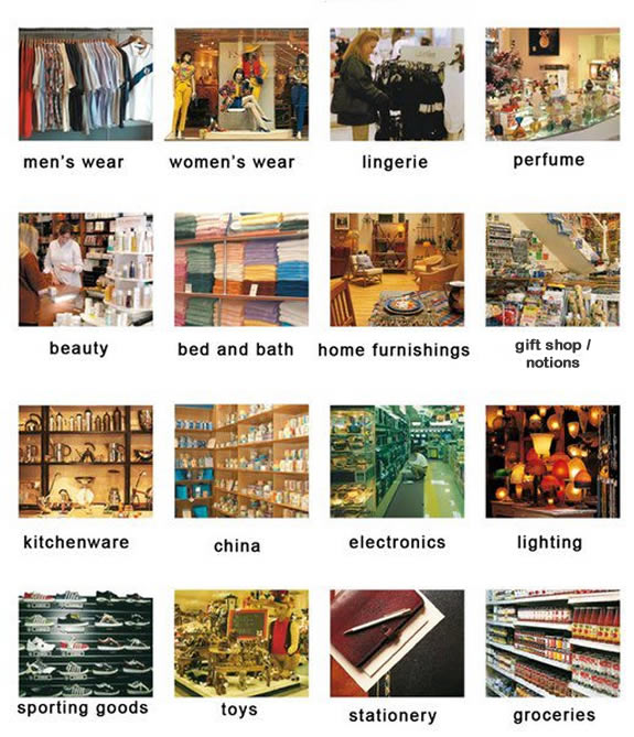 Department stores vocabulary learning types of department ...