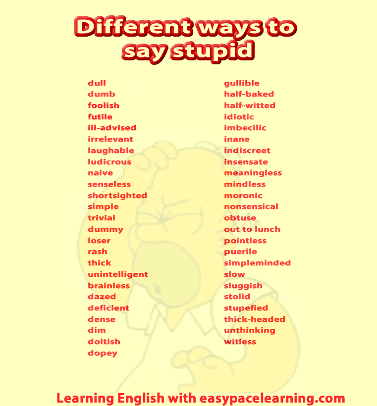 69 different ways you can say the word stupid