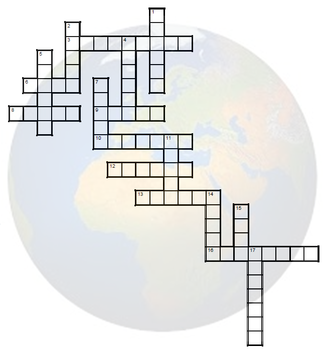 Countries and capitals crossword exercise