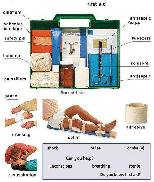 First aid box and injuries learning English vocabulary with pictures – First Aid Worksheets