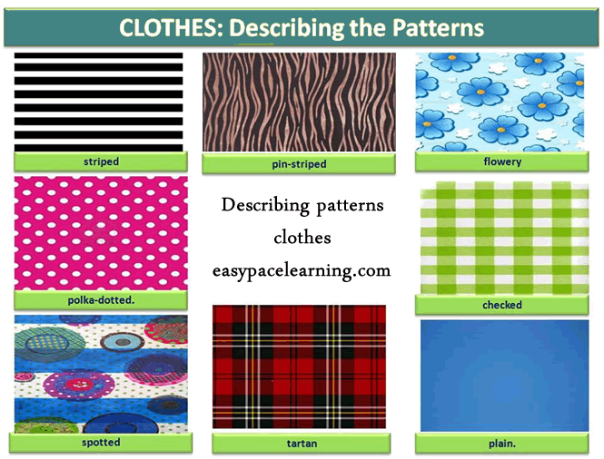 Learning about clothes patterns English lesson