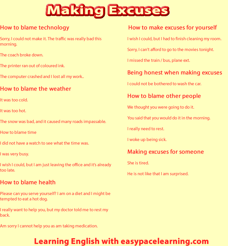 Making excuses for yourself or someone else English lesson