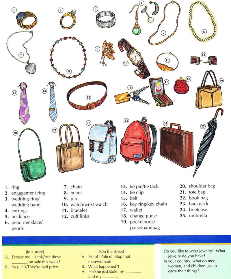 jewellery jewelry accessories vocabulary