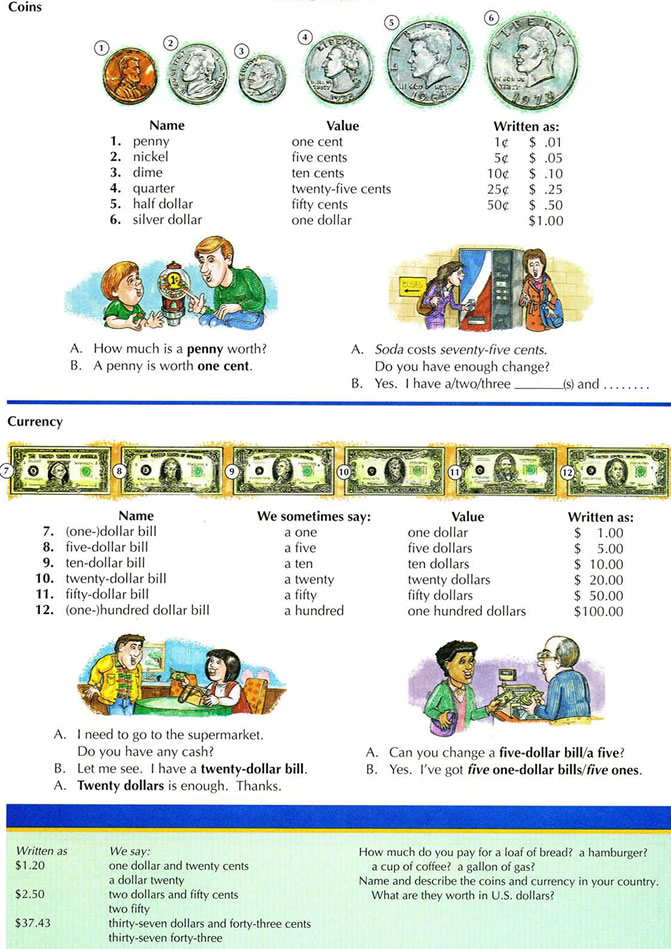 American Money Vocabulary