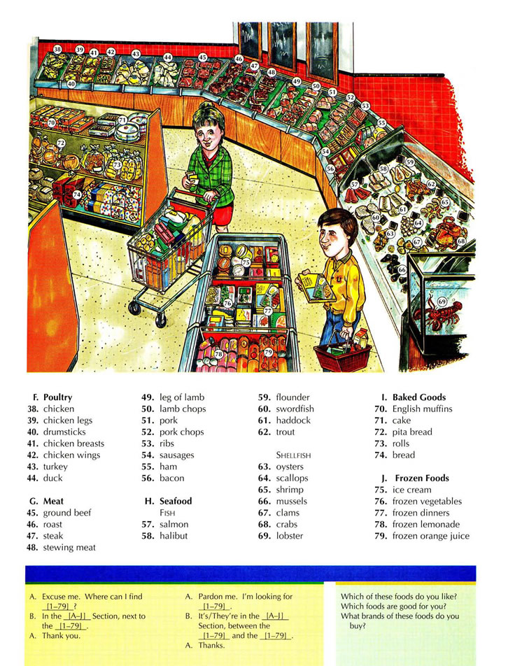 Supermarket vocabulary for poultry meat seafood