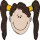a girl with pigtails