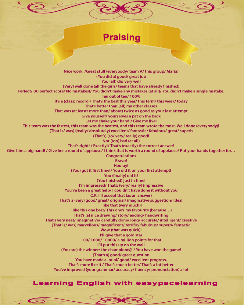 Praise and encouragement phrases you can use to show you