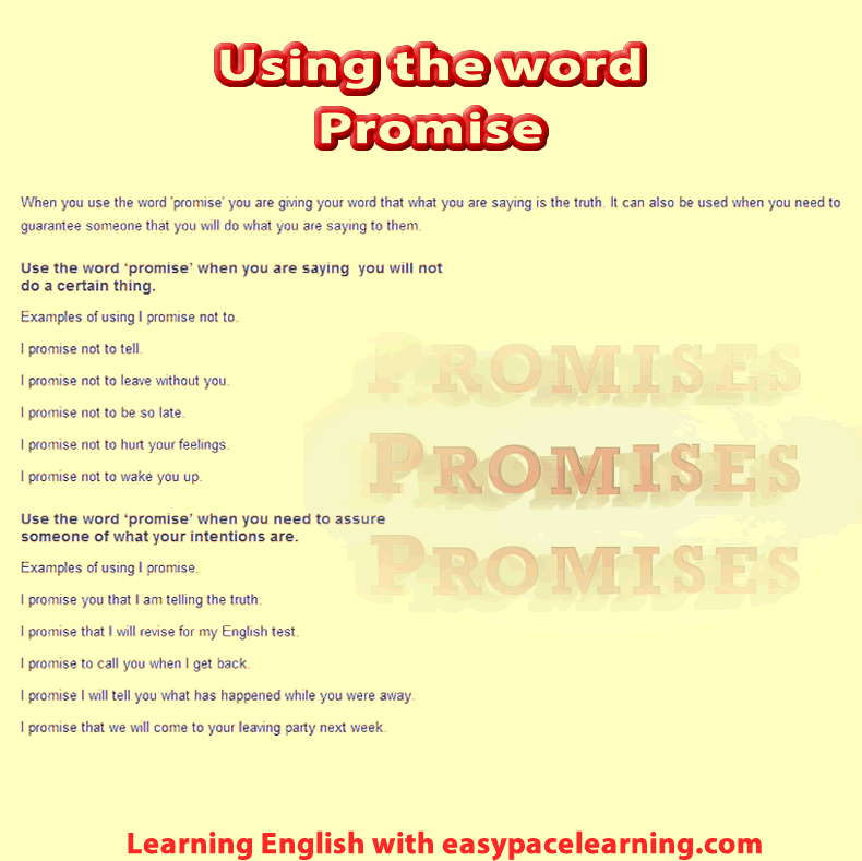 How to use the word promise and what it means