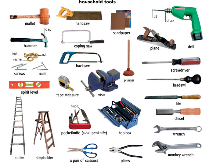 Tools for a workshop and outside for Gardening tools vocabulary