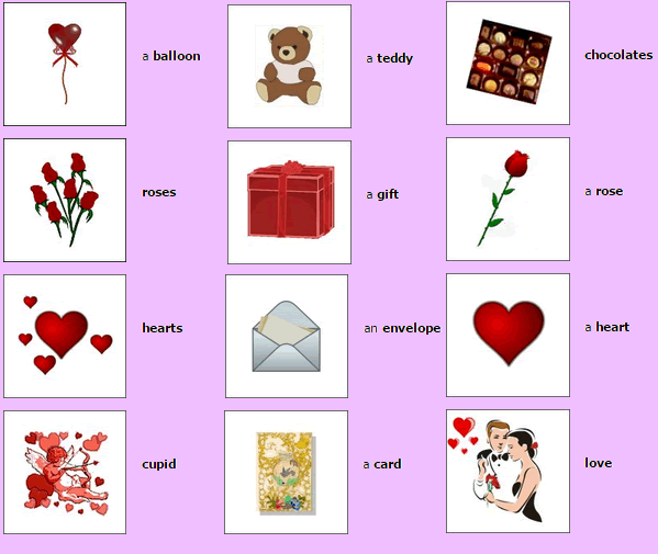 Valentine vocabulary with pictures and A to Z love words