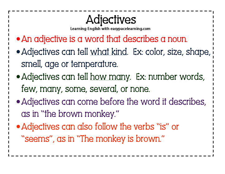 Adjectives learning what are adjectives