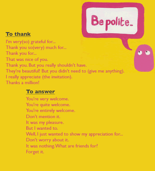 How to be polite when thanking someone and how to answer someone who has thank you