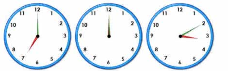 twelve random clocks to help practise telling the time
