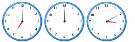 twelve random clocks to help practise telling the time